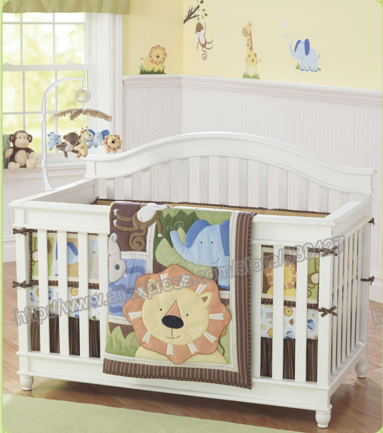 7 Pieces Lovely Baby Cot Bedding Set Africa Lion Crib Sheets Cuna