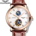 2016 pulseira de couro relógios homens marca de luxo guanqin tourbillon relógio mecânico automático dos homens do esporte à prova d' água subiu ouro negro