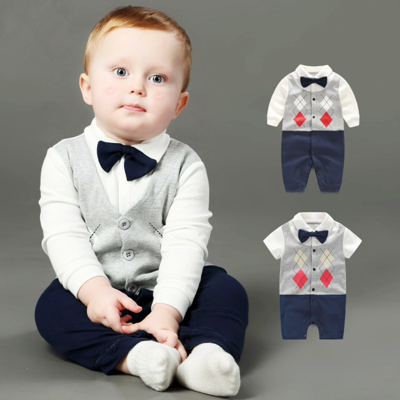 Summer Baby Boy Rompers Newborn Gentleman Clothing Set Cotton Bow Tie Prince Leisure Costumes Infant Jumpsuit Brand Boys Clothes top and top summer toddler boy clothes gentleman boy clothing set bow tie romper top straps shorts boys wedding party clothes