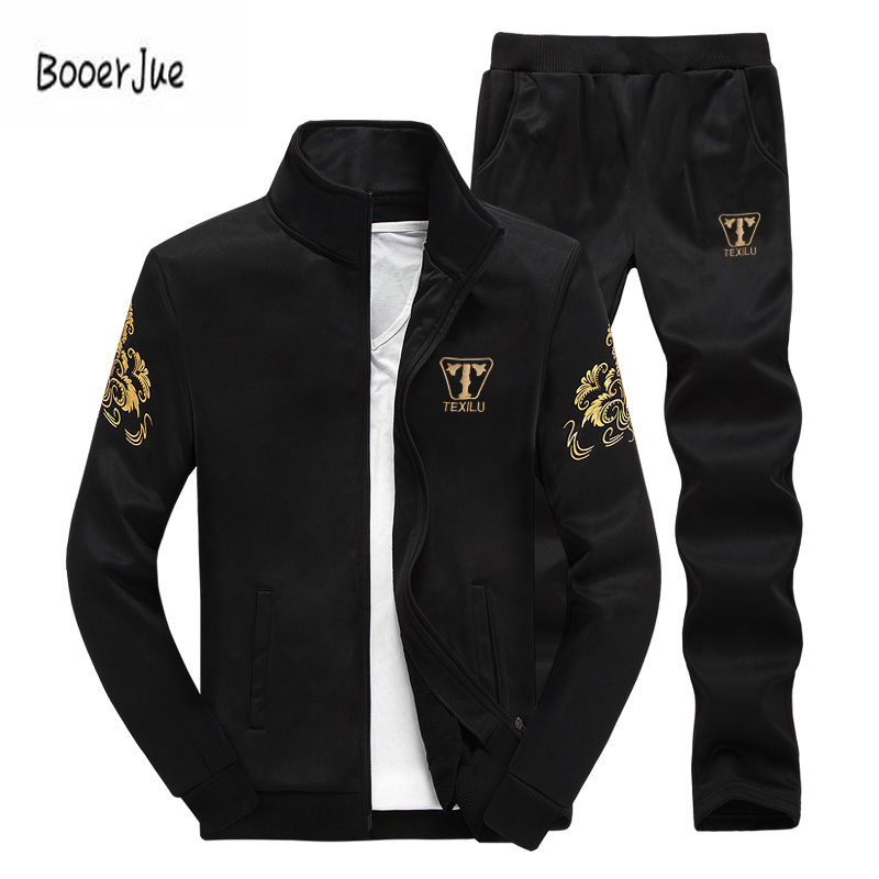 Mens Tracksuit Outwear Hoodies Set 2 Pieces Autumn Sportwear Track Suit Male Fitness Stand Collar Sweatshirts Jacket+Pants Sets ...