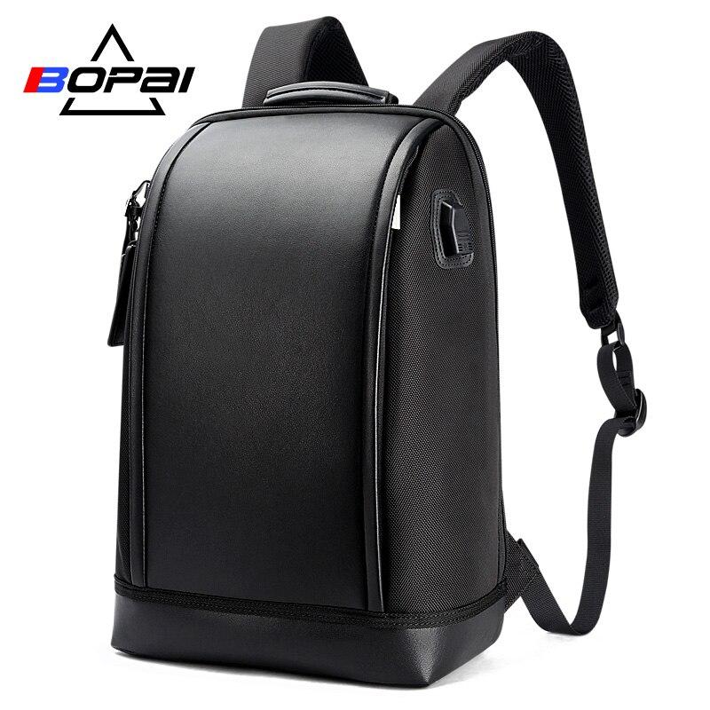 Bopai 2018 새로운 디자인 된 학교 배낭 남자 독특한 세련 된 노트북 배낭 비즈니스 남자 여행 usb 배낭 패션 학교 가방-에서백팩부터 수화물 & 가방 의  그룹 1