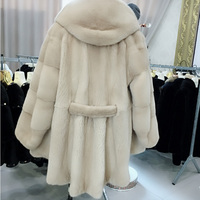 The new 2018 mink coat Take hat belt wave tail long winter fur coat in fashion