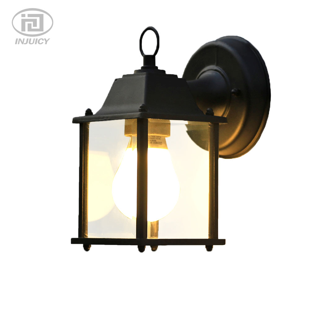 American European Minimalist LED Waterproof Clear Glass Outdoor Wall Lamp Industrial Villa Aisle Wall Light Decorate Lighting