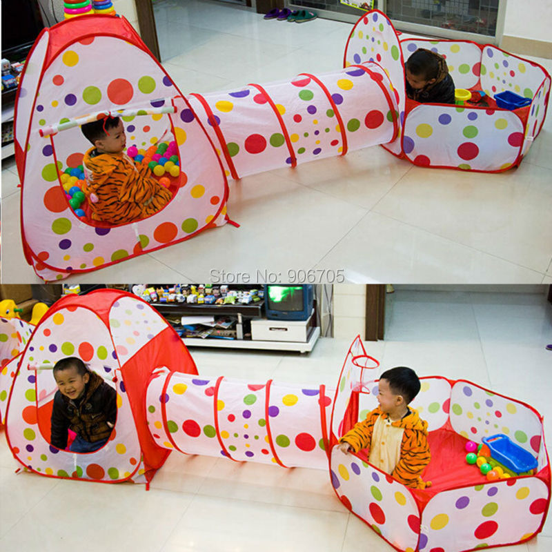 ФОТО Play Tunnel and Tent Play Tent 3-in-1 Indoor Pop up Tent 3pc Outdoor Gamehouse Toy Hut Easy Fold Ocean Ball Pit Toy with bag