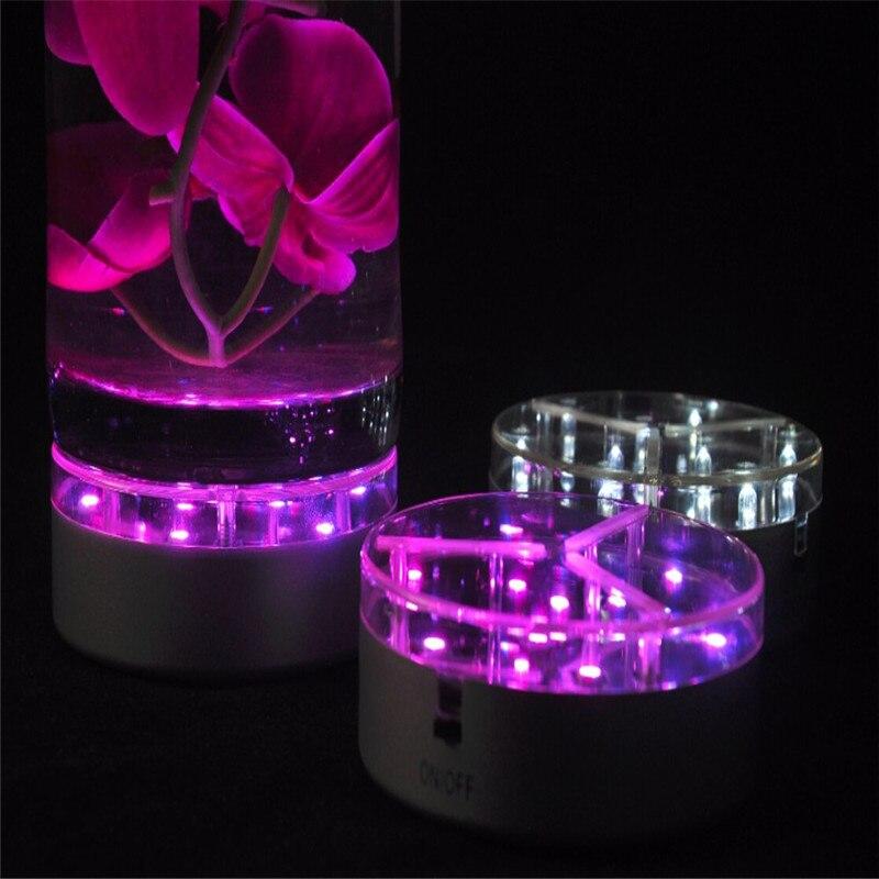 4inch Acrylic Remote Round Led Vase Base Light With 9 Super Bright