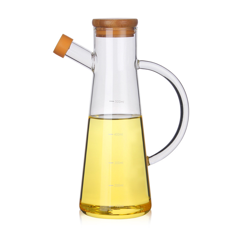 Brand New 500ml Healthy High Borosilicate Glass Olive Oil Vinegar Pot Dispenser Bottles Vinegar Can Cruet Storage With Handle AA image