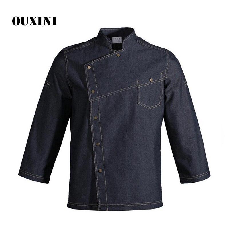 Denim coton Chef service jackte hôtel travail porter Restaurant travail vêtements uniforme chef chemise