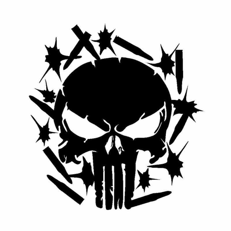 Qypf 1516cm Punisher Bullets And Skull Decoration Car Stickers