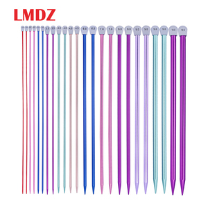 Image 1 - LMDZ 15 גדלים 30 יח\סט 35cm יחיד מחודד סריגת מחטי סיכות ישר אלומיניום DIY אריגת כלי 2.0mm  12mm