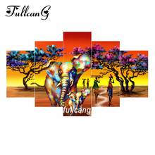 FULLCANG Africa Woman Elephants 5pcs Diamond Painting Cross Stitch Multi Picture Embroidery Diy 5D Square Mosaic F1071