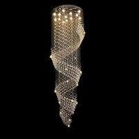 Modern Crystal Chandelier Rain Drop Rhombus Design Ceiling Light Fixture Stairs Chandelier Duplex Rotary Lamp Villa led lamps
