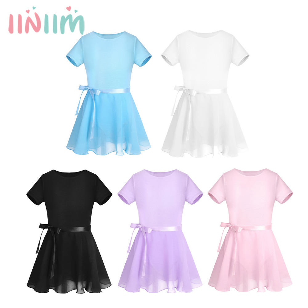 f3991e977665 iEFiEL Kids Girls Cotton Short Sleeves Ballet Dance Gymnastics ...