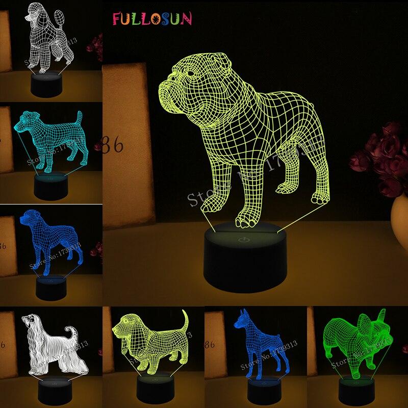 3D Illusione ottica Lampada Bulldog Barboncino Martinetti Russell Terrier Rottweiler Dobermann HA PORTATO I Bambini Luce di Notte di Stile Del Cane Lampada Da Scrivania Luce