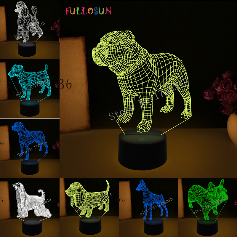 3D Visual Illusion Lamp Bulldog Poodle Jack Russell Terrier Rottweiler Dobermann LED Kids Night Light Dog Style Desk Light Lamp in LED Night Lights from Lights Lighting