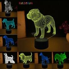 3D Visual Illusion Lamp Bulldog Poodle Jack Russell Terrier Rottweiler Dobermann LED Kids Night Light Dog Style Desk