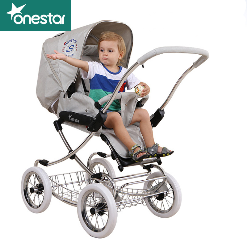 Baby trolley European high landscape stroller can two-way folding baby stroller basket can be newborn bed luxury  umbrella carts kds twin baby stroller high landscape two baby trolley hand double fold front and rear can lie luxury umbrella carts