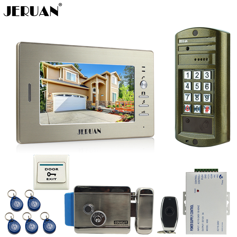 HOME 7 inch Video Doorbell Intercom System kit Metal waterproof password keypad HD Mini Camera + Electronic control lock