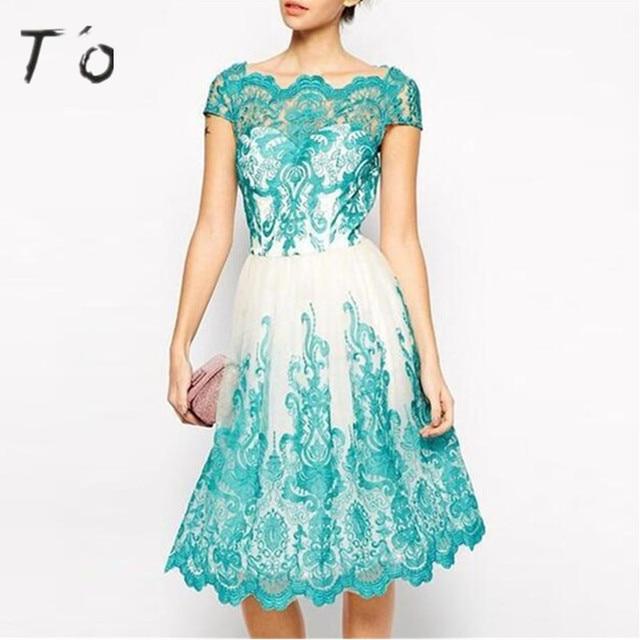 Blauw witte jurk
