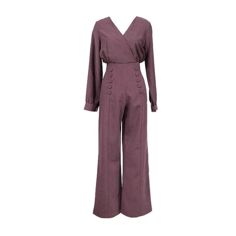 Fashion Work Style Women Temperament Comfortable Solid Regular Jumpsuit New Arrival Elegant OL Casual High Waist Long Jumpsuit