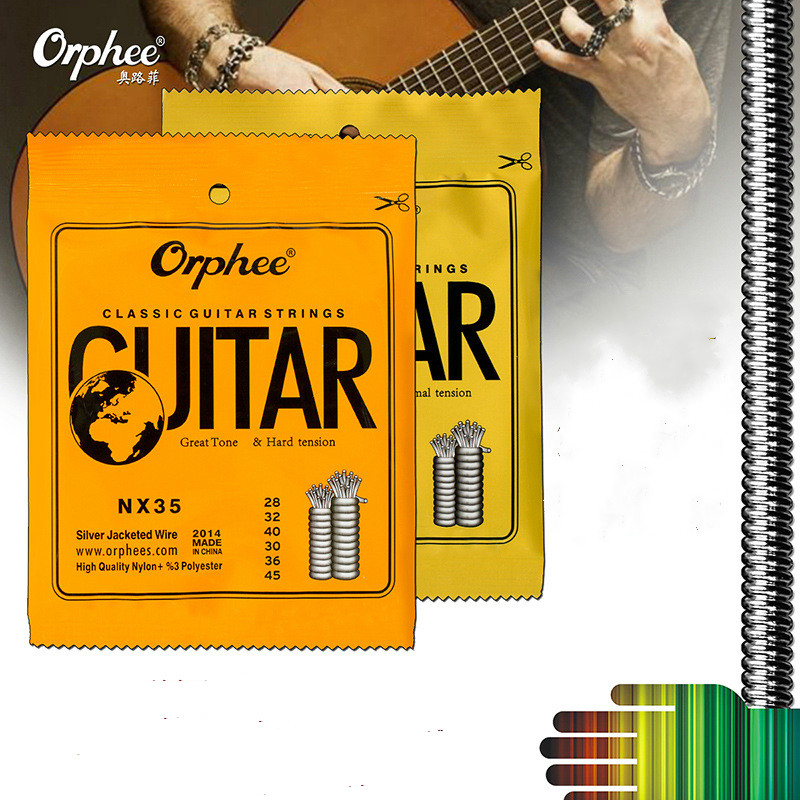 Orphee 6pcs/set Classic Guitar Strings Nylon and Silver Plated Wire Hard/Normal Tension Accessories