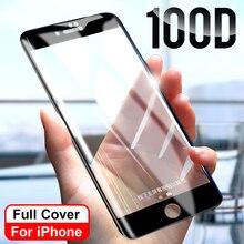 100D منحني حافة غطاء كامل زجاج واقي على ل iPhone 7 8 6 6S Plus واقي للشاشة على X XR XS Max 5 SE 5s زجاج عليه طبقة غشاء رقيقة