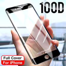 100D защитное стекло с закругленными краями для iPhone 7 8 6 6S Plus X XR XS Max 5 SE