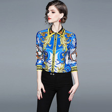 ARiby 2019 Spring And Autumn Womens Tops Blouses  European Print Shirt Long Sleeve Slimming Korean Fashion Voile Clothing