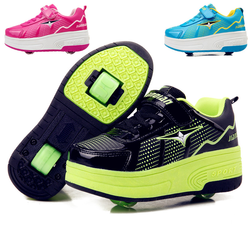 28 42 Green Children Junior Roller Skate Shoes Kids Sneakers With Two heelies Boys Girls Wheels