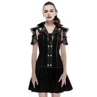 Punk Black Women I Shaped Leather Collar Short Sleeves Pleated Dress Personality Backless Women Military Uniform Dress