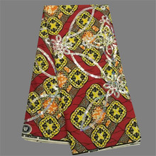 Luxury wedding dres material red with yellow print cotton wax fabric African  ankara wax with sequins 865d8d67d207