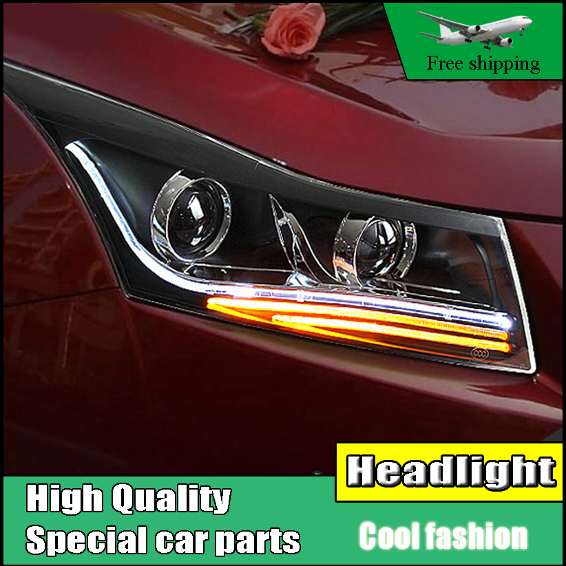 Car Styling Head Lamp For Chevrolet Cruze 2009-2014 Headlights LED Headlight DRL Double Beam Lens H7 HID  Low Beam car styling head lamp case for chevrolet cruze headlights led headlight drl lens double beam bi xenon hid accessories