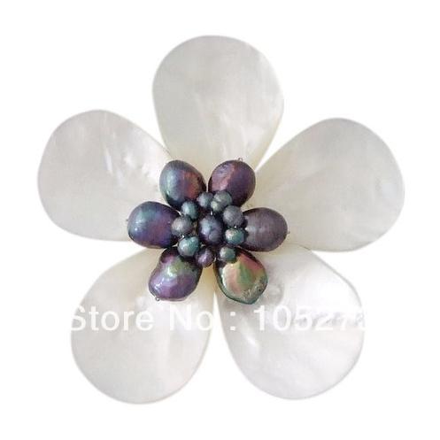 Nouveau Arriver coquille fleur bijoux Daisy délice mère de perle d'eau douce noire perle broche Top qualité 4-25mm offre spéciale