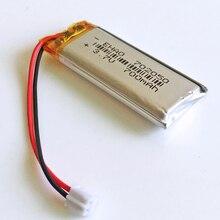 JST PH 2,0 2pin 3,7 V 700mAh 702050 литий-полимерная LiPo аккумуляторная батарея для Mp3 наушников PAD DVD электронной книги bluetooth камеры