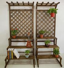 Balcony Flower Stand Antiseptic Wood Multi-layer Stepped Stand, Pot with Cymbidium Mesh