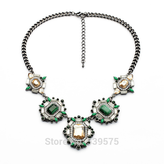 Chic New Hot Sale Fashion Vintage Gift Unique Design Jewelry Party Green and Blue Elegant Stone Setting Retro Necklaces