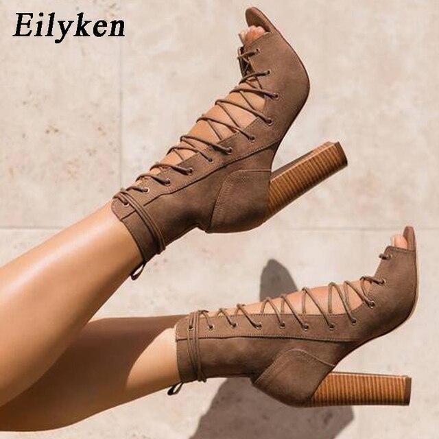 Eilyken Flock Romane botas para mujer botas de mujer con dedos abiertos tacones altos moda Otoño botas sandalias Peep Toe Cross-tied mujeres tamaño 35-40