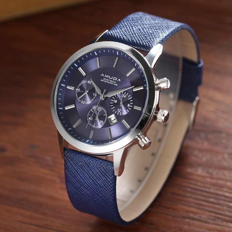 wrist dial blue original men leather hour s vincero watches mens chronograph of watch strap