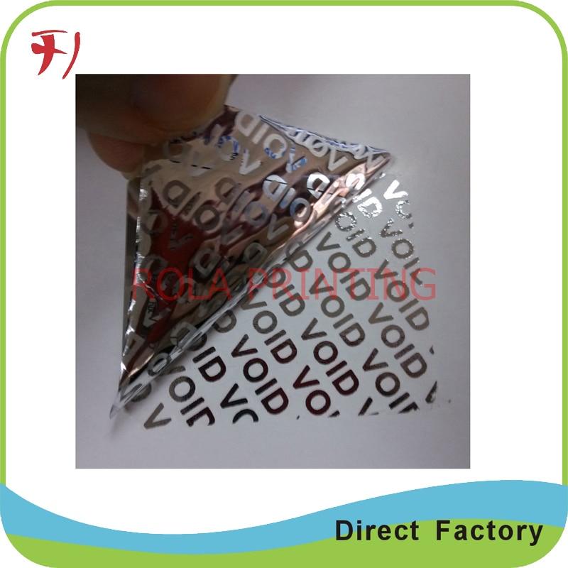 Customized round destructible calibration void stickers label