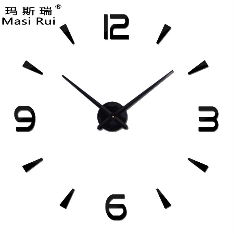 US $6.72 58% di SCONTO|2019 speciale di grandi dimensioni fai da te  orologio da parete design moderno Soggiorno quarzo 3d big acrilico orologio  da ...