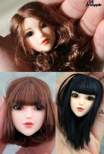 "1/6 scale figure doll head for 12"" action figure doll accessories.Pretty female head fit white skin figure doll body head sculpt"