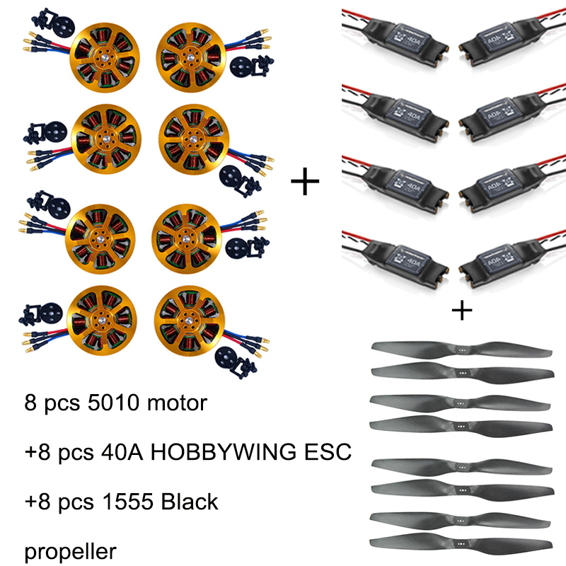 8pcs 5010 340KV/280KV Brushless Motor +8pcs 40A ESC +8pcs 1555 Propeller for RC Plane 4pcs 6215 170kv brushless outrunner motor with hv 80a esc 2055 propeller for rc aircraft plane multi copter
