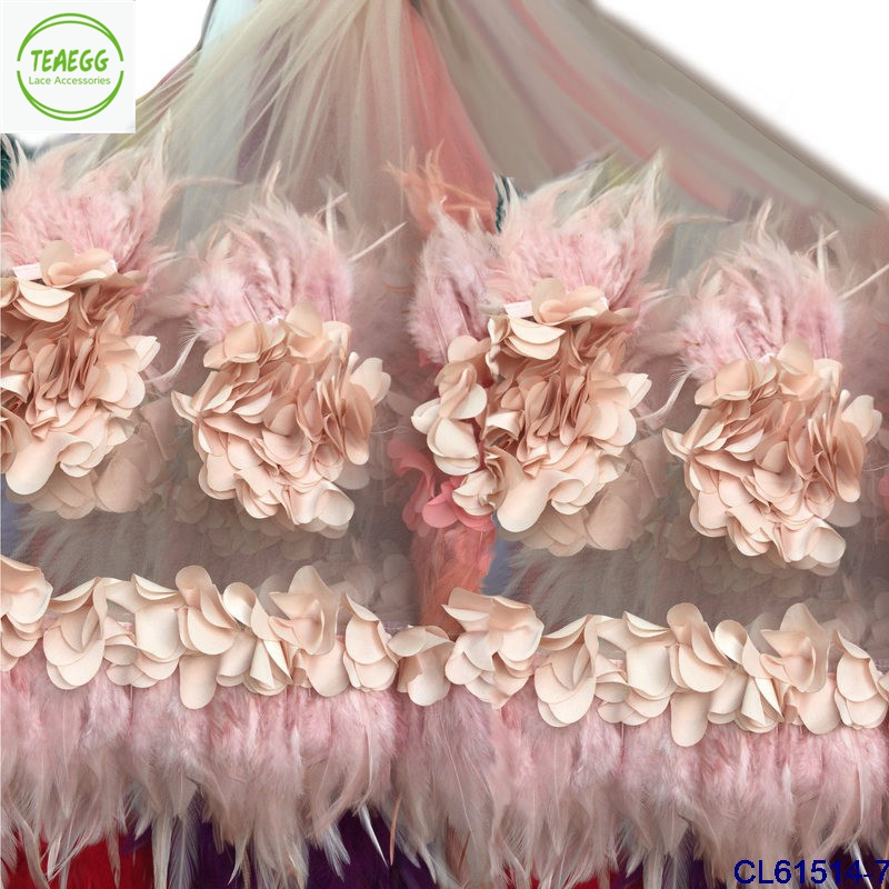2018 New 3D flowers with Feather Lace Fabrice 5yards Guipure Lace Tissue Stretch Dress Fabric Mesh for Skirt Wedding dress lace