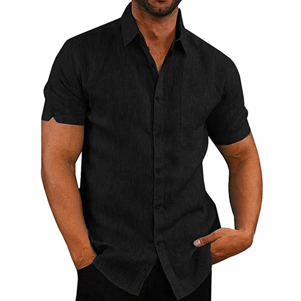 2019 男性の夏のカジュアル毎日のスリム半袖ポケットシャツトップビーチブラウス camisas やつ漫画コルタ 50