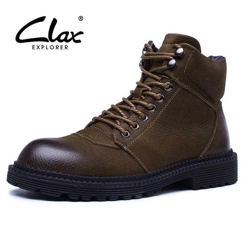 3d4b349d6cfa6e2 CLAX/мужские ботинки-дезерты из натуральной кожи, сезон весна-осень 2019,  кожаные ботинки с высоким берцем, мужские зимние ботинки, теплые зимни.