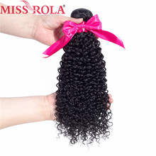 Miss Rola Hair pre-colored Malaysian kinky Curly Weave Human Hair Bundles Non Remy Hair In Extension #1b Colored One Piece