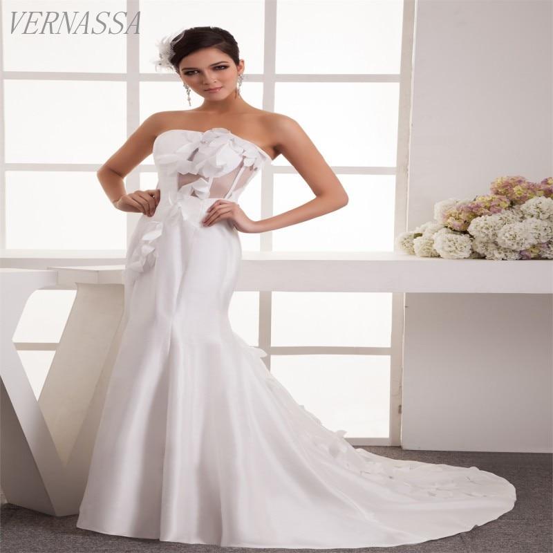 Vestido De Noiva Strapless Zipper Back Wedding Dress
