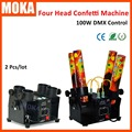 2 Pcs/lot Electric 4 Head Confetti Machine AC110V-240V Smoke 100W four tube confetti cannon Suit For Wedding Party Disco Club