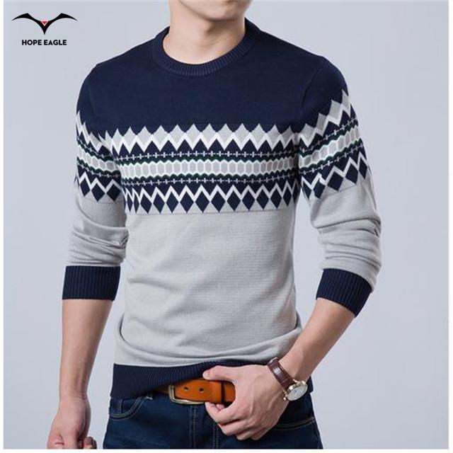 2016 Nova Moda Outono Marca Camisola Ocasional O-pescoço Slim Fit Knitting Camisolas Dos Homens E Pulôveres Dos Homens Homens Pullover XXL