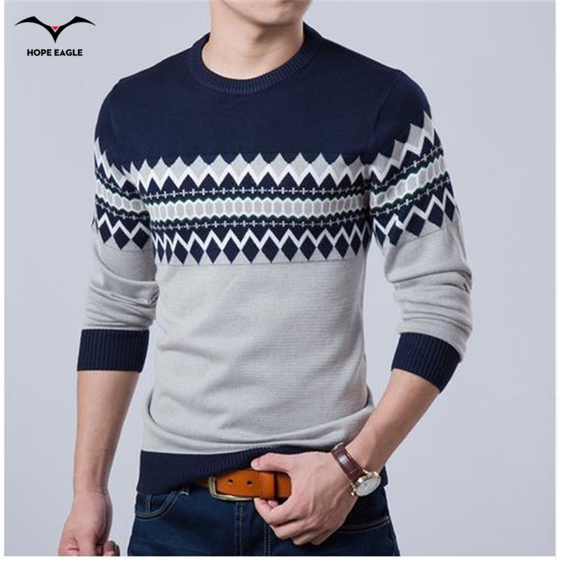 2017 Baru Musim Gugur Merek Fashion Kasual Sweater O-Neck Slim Fit Merajut Mens Sweater Dan Pullover Pria Pullover Pria XXL