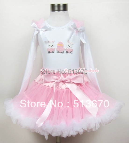 Light Pink White Pettiskirt with Bunny Rabbit Egg Print White Long Sleeve Top with Light Pink Ruffles & White Bow MAMW195